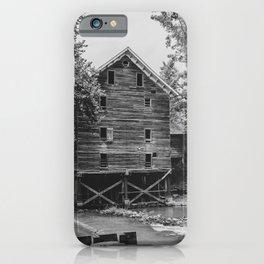 Historic Kymulga Grist Mill Childersburg Alabama Black and White iPhone Case