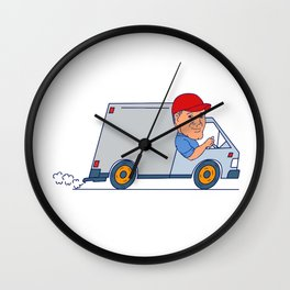 Delivery Man Driving Truck Van Cartoon Wall Clock