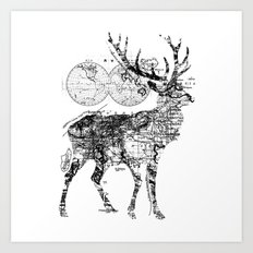 Deer Wanderlust Black and White Art Print