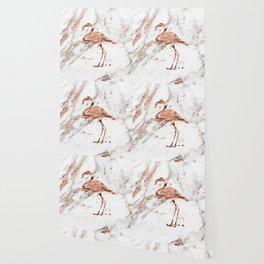 Rose gold marble - flamingo Wallpaper