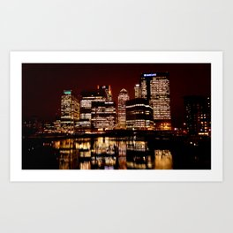Canary Wharf at night Art Print