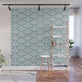 Teal Blue Japanese wave pattern Wall Mural