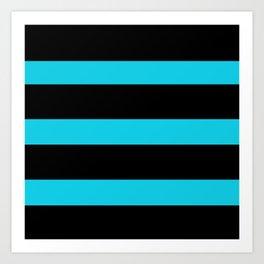 Hollywood Nights Black and Teal Stripes Art Print