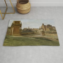 """Jean-Baptiste-Camille Corot """"The Arch of Constantine and the Forum"""" Rug"""