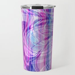 Girly pink blue teal white abstract watercolor marble Travel Mug