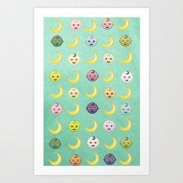 Pastel Moon Babies Art Print