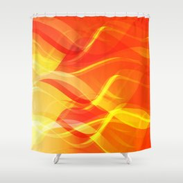 Theme of fire for the banner. Bright red and orange glare on a gentle background for a fabric or pos Shower Curtain