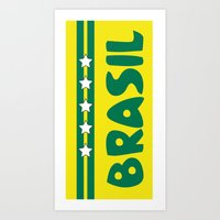 brazil Art Prints featuring Brazil by Kristine Redillas