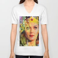 wonder V-neck T-shirts featuring Wonder by Ganech joe