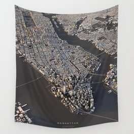 Manhattan - city map Wall Tapestry