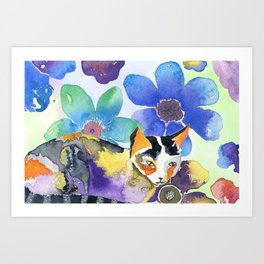 Calico & Flowers Art Print