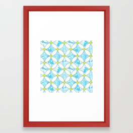 Blue Geo Daisies Framed Art Print