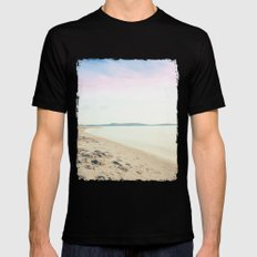 Sand, Sea and Sky - Relaxing Summertime MEDIUM Black Mens Fitted Tee
