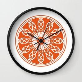Orange flower mandala Wall Clock