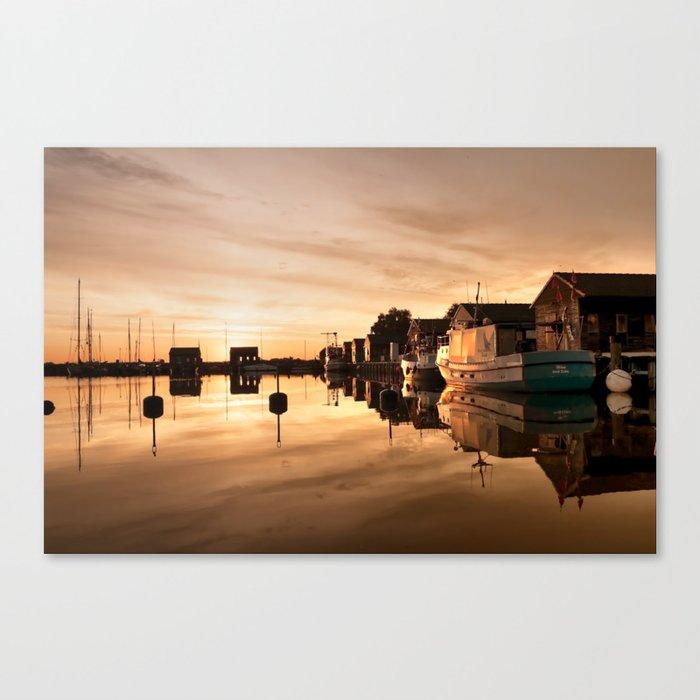 Beautiful Sunrise - harbour Beach Boat Ship Canvas Print