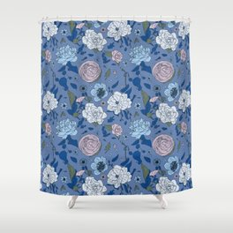 Lovely Seamless Floral Pattern With Subtle Poodles (Hand Drawn) Shower Curtain