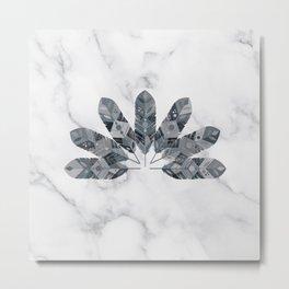 Bohemian Chic White Marble Grey Tribal Feather Metal Print
