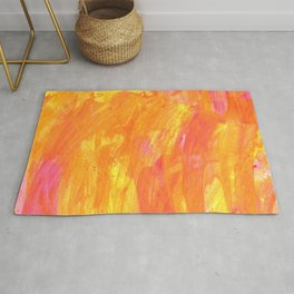 Sunny Yellow Vibes Abstract Version 2 Rug