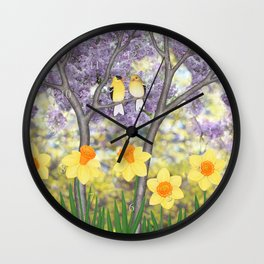 goldfinches, lilacs, & daffodils Wall Clock