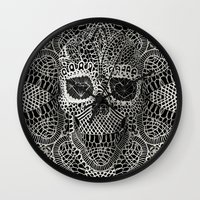 hell Wall Clocks featuring Lace Skull by Ali GULEC
