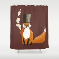 fancy Shower Curtains featuring Fancy Fox by Eric Fan