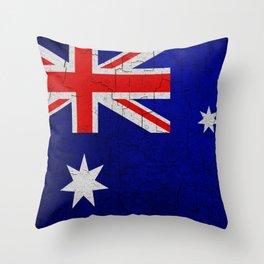 Cracked Australia flag Throw Pillow