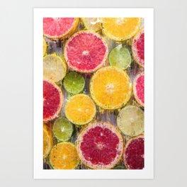 Citrus Splash - Assorted Fruits Art Print