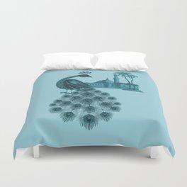 Blue peacock oriental dream Duvet Cover