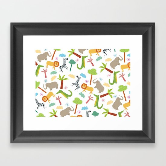 A HAPPY DAY  IN JUNGLE Framed Art Print