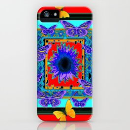 SOUTHWEST RED-BLUE BUTTERFLIES-SUNFLOWERS iPhone Case