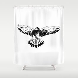 Kestrel flapping its wings Shower Curtain