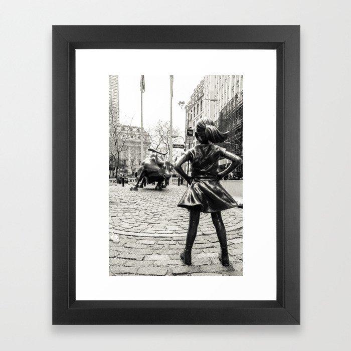 Fearless Girl & Bull - NYC Framed Art Print