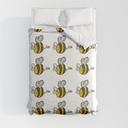Hand drawn black yellow stripes cute honey bee illustration Comforters
