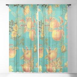 Vintage & Shabby Chic - Summer Golden Apples Garden Sheer Curtain