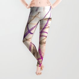 Expressive Royal Fuchsia and Lavender Abstract Leggings