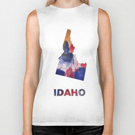 Idaho map outline Red blue brown watercolor painting Biker Tank