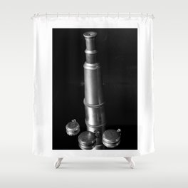 Vintage Reflections (Telescope & Pocket Watch) Shower Curtain