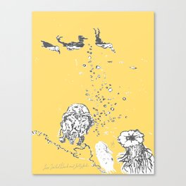 Two Tailed Duck and Jellyfish Pale Yellow Mellow Canvas Print
