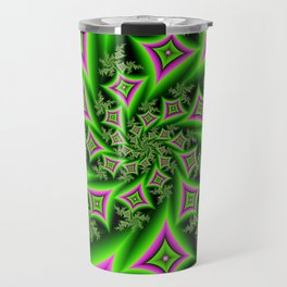 Green And Pink Shapes Fractal Travel Mug