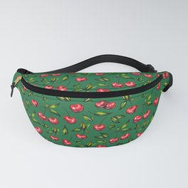 Watercolor cherry pattern on green background Fanny Pack