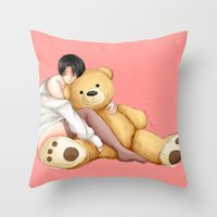 teddy bear Throw Pillows featuring Teddy by Sir-Snellby