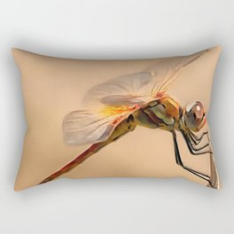 Painted Dragonfly Isolated Against Ecru Rectangular Pillow