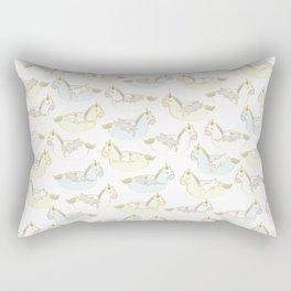 Sleepy lazy cats in unicorn floaties Rectangular Pillow