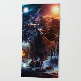 XIV. Temperance Tarot Card Illustration (Color) Beach Towel