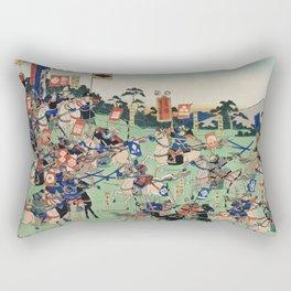 Kawanakajima no Kassen by Utagawa Kuniyoshi (1798-1861) a woodcut diptych of battle at Kawanakajima Rectangular Pillow