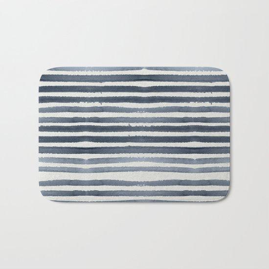 Simply Shibori Stripes Indigo Blue on Lunar Gray Bath Mat