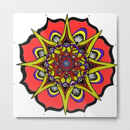 Uno Mondo Rosa Mandala Metal Print