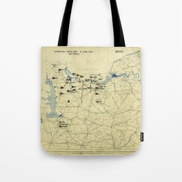 June 6 1944 D-Day World War II Twelfth Army Group Situation Map Tote Bag