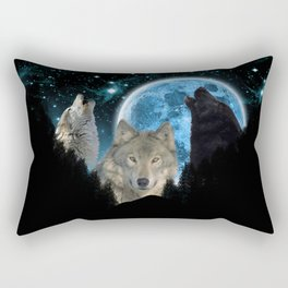 Wolves Twilight Blue Moon Rectangular Pillow