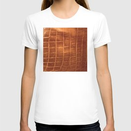 Tobacco-Brown Vintage Leather Textured Pattern T-shirt